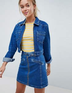 Read more about Asos design denim cropped jacket with western belt buckle detail co-ord - blue