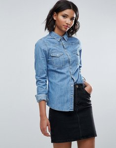 Read more about Asos design denim fitted western shirt in midwash blue - blue