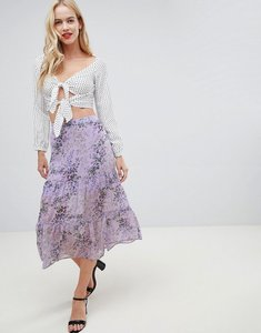 Read more about Oasis midi skirt with tiered detail in lilac print - multi lilac