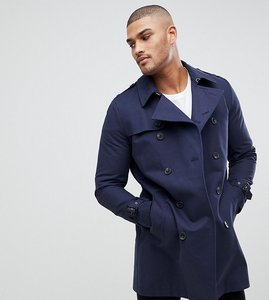 Read more about Asos tall shower resistant double breasted trench in navy - navy