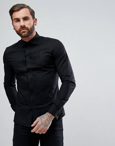 Read more about Asos skinny cutaway collar sateen shirt with pleated placket in black - black
