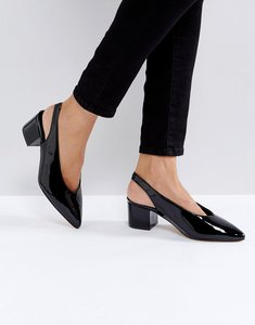 Read more about Truffle collection high topline sling mid heel shoes - black patent