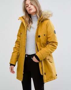 Read more about Vero moda faux fur hooded parka - harvest gold