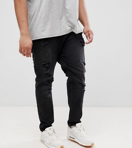 Read more about Asos plus tapered jeans in 12 5oz in washed black with heavy rips - washed black