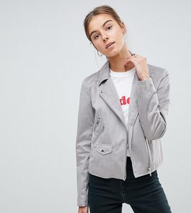 Read more about Asos tall suedette biker jacket - grey