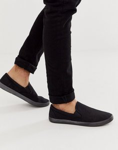 Read more about Asos design slip on plimsolls in black canvas - black