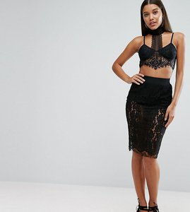 Read more about Naanaa lace midi skirt in eyelash lace - black