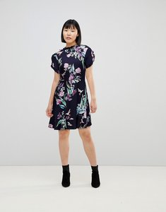 Read more about Oasis ruffle sleeve floral printed skater dress - multi blue