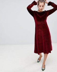 Read more about Traffic people flute sleeve velvet midi dress - maroon