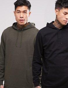 Read more about Asos longline hoodie 2 pack khaki black save - black khaki
