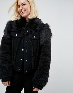 Read more about Asos denim jacket in washed black with faux fur panels - washed black