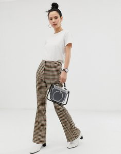 Read more about Asos design slim kick flare trouser in light based check