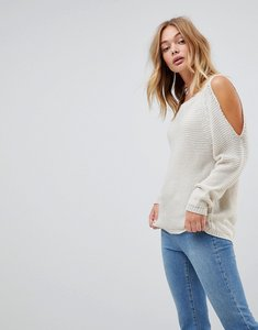 Read more about Wal g jumper with cold shoulder - beige