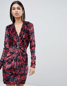 Read more about Club l floral printed knot front mini dress in velvet