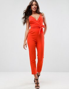 Read more about Asos design wrap front jumpsuit with peg leg and self belt - red