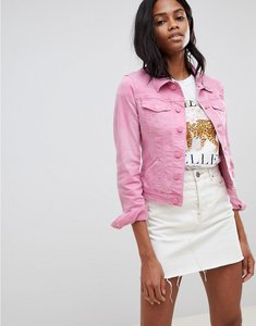 Read more about Oasis cropped denim jacket in pink - pink