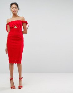 Read more about Asos bardot lace tie shoulder midi dress - red