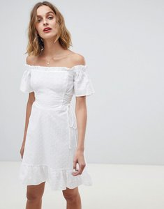 Read more about Neon rose bardot dress in broderie - white