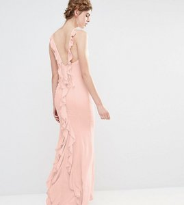 Read more about Jarlo wedding maxi dress with fishtail and ruffles at back - pale pink