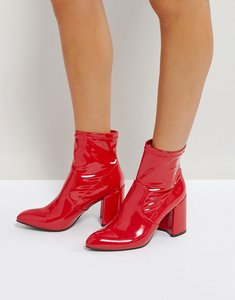 Read more about Qupid sock block heel boot - red patent