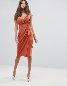 Read more about Asos shawl collar wrap midi dress - rust