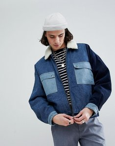 Read more about Asos borg lined denim cord jacket in blue - blue