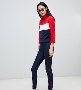Read more about Monki side stripe leggings in navy