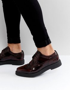 Read more about Asos brogue shoes with creeper sole in burgundy leather - burgundy