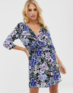 Read more about Oh my love frilled neck mini skater dress in floral print - black blue print
