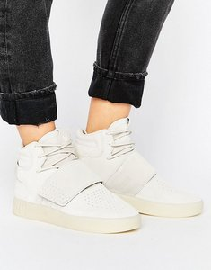 Read more about Adidas originals beige tubular invader strap trainers - clear brown