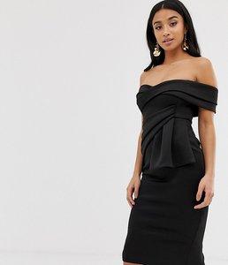 Read more about Asos design petite bardot fold wrap front midi pencil dress