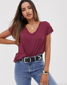 Read more about Mango v neck eco tshirt in dark red
