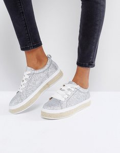 Read more about Truffle collection glitter espadrille trainers - silver glitter