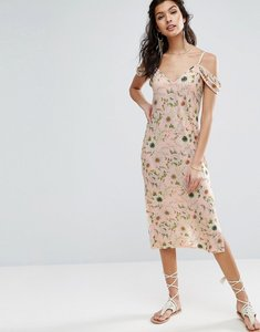 Read more about Asos midi sundress with cold shoulder in floral print - floral print
