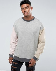 Read more about Asos oversized colour block sweatshirt - grey marl