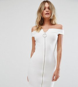 Read more about Missguided bardot zip front dress - white