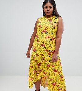 Read more about Asos design curve maxi tea dress with dropped hem and contrast buttons in floral print - multi