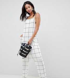 Read more about Asos design tall jumpsuit minimal with ties in white check - mono check