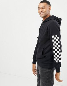 Read more about Jack jones originals hoodie with checkerboard sleeve print - black