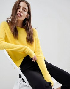 Read more about Asos jumper in fluffy yarn with crew neck - acid yellow