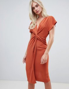 Read more about Asos design twist midi dress with kimono sleeve - rust