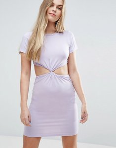 Read more about Asos twist front mini bodycon dress with cut out - lilac