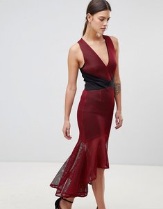 Read more about Forever unique panelled v neck dress - red