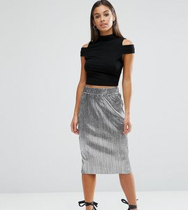 Read more about Asos petite metallic pleat skirt - silver