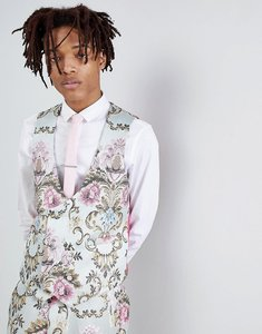 Read more about Asos edition wedding skinny suit waistcoat in pastel floral jacquard - blue