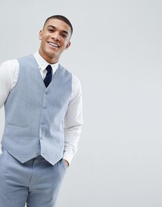 Read more about Asos wedding skinny suit waistcoat in blue linen - blue