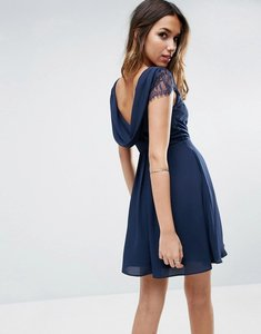 Read more about Asos kate lace cowl back mini dress - navy