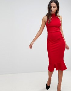 Read more about Girl in mind high neck frill hem midi dress - red