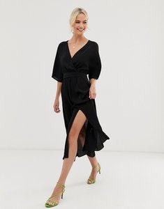 Read more about other stories v-neck midi wrap dress with front slit in black