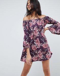Read more about Asos design off shoulder mini dress with trumpet sleeve in floral print - floral print